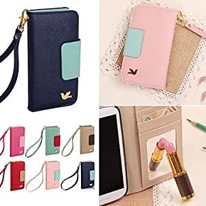 TL DF Colorful Little Bird PU Leather Full Body Case with Strap for iPhone 5/5S(Azul claro)