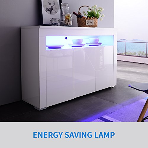 Mecor Sideboard Buffet Storage Cabinet Kitchen Server Table with 3 Doors and Open Topper Shelf, High Gloss LED Light Sideboard White