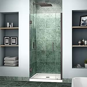 """DreamLine Unidoor 34-35 in. Width, Frameless Hinged Shower Door, 3/8"""" Glass, Oil Rubbed Bronze Finish"""