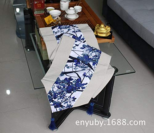 (JUNYZZQ Table Runner Flag Table Flag Chinese Classical Blue and White Table Flag Patchwork Table Flag Cotton Table Flag Bed Flag Pendant Creative Decoration,32X160Cm)