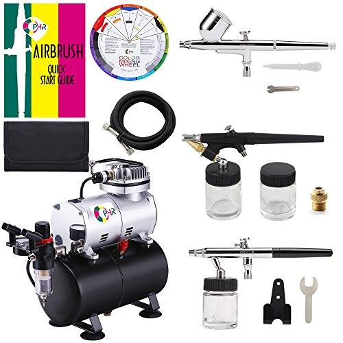 OPHIR 3-Airbrushes Dual Action & Single Action 110V Airbrush Hobby Air Brush Compressor Kit with Tank for Models Tattoo Cake with Airbrushing Manual
