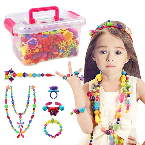 Pop Beads, 520 PCS+ Pop Arty Snap Together Beads for Kids Toddlers Creative DIY Jewelry Set Toys - Making Necklace, Bracelet and Ring - Ideal Christmas & Birthday Gifts for Girls (Christmas Necklaces Beads)