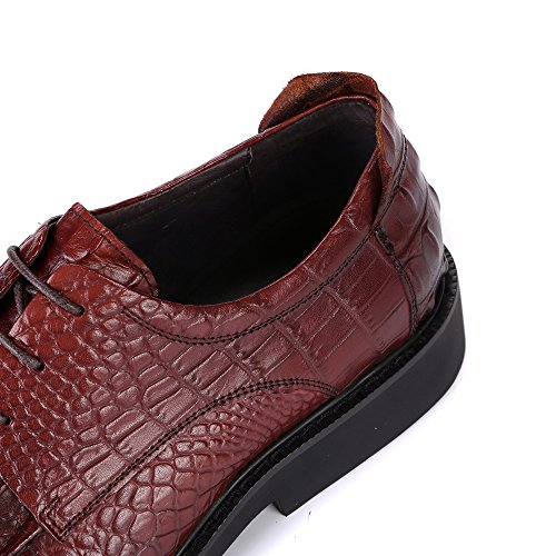 Formal Pattern Men in Lacing Wine Shoes Embossed Up Red Occasion For Derby Style wnSIx0w