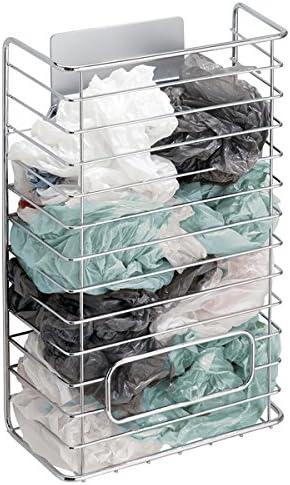 mDesign AFFIXX Meuble de Rangement Sacs Plastique – Support métallique adhésif pour Sacs Plastique – Panier de Rangement Pratique pour Sacs en Plastique, de congélation, etc. – Argent
