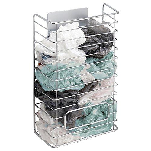 mDesign AFFIXX porta sacchetti di plastica – Scaffale cucina autoadesivo per buste di plastica, buste per freezer ecc. – Porta sacchetti cucina – Colore: metallo MetroDecor
