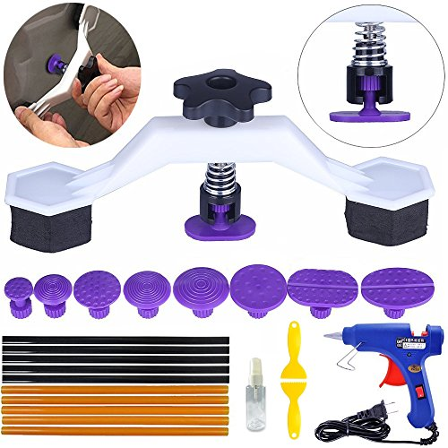 Yoohe PDR Tools Pops a Dent Ingenious Bridge Dent Puller Kit with 8 Sizes Glue Tab Hot Melt Glue Gun Glue Sticks for Car Body Dent Repair