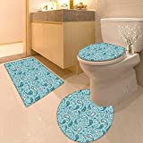 Printsonne Lid Toilet Cover Islamic Arabian Inspired Pattern Rounded Modern Ornaments Design White Blue Personalized Durable
