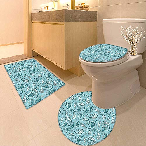 Printsonne Toilet Cushion Suit Islamic Arabian Inspired Pattern Rounded Modern Ornaments Design White Blue in Bathroom Accessories by Printsonne