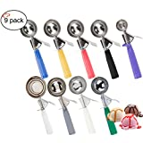 TigerChef TC-20559 Ice Cream Scoop Disher, Stainless Steel Scoop, NSF Certified, Assorted Colors (Pack of 9)