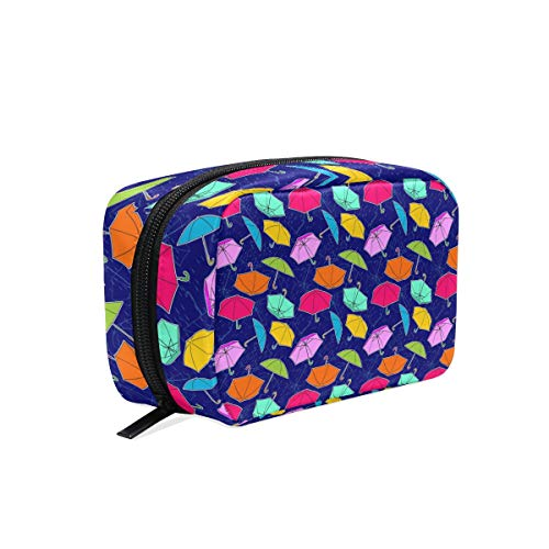 Colorful Umbrellas Rain Time Blue Square cosmetic bag compartment travel skin care zipper storage bag woman