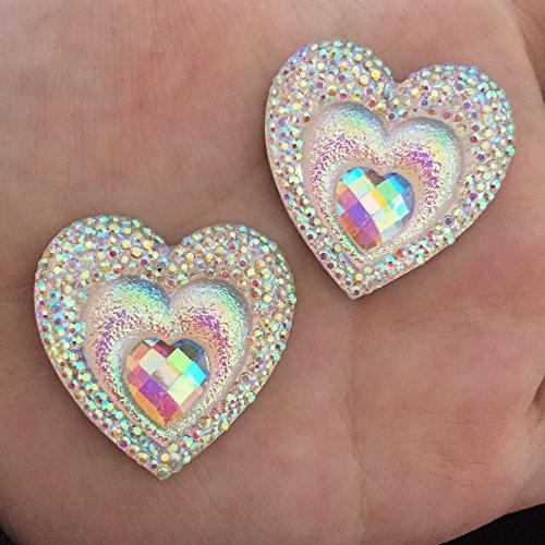 FunnyCraft (10 Pieces/Lot) 30Mm Ab Resin Heart Shape Rhinestone Flatback Wedding Diy 2 Hole Buttons Scrapbooking Embellishments