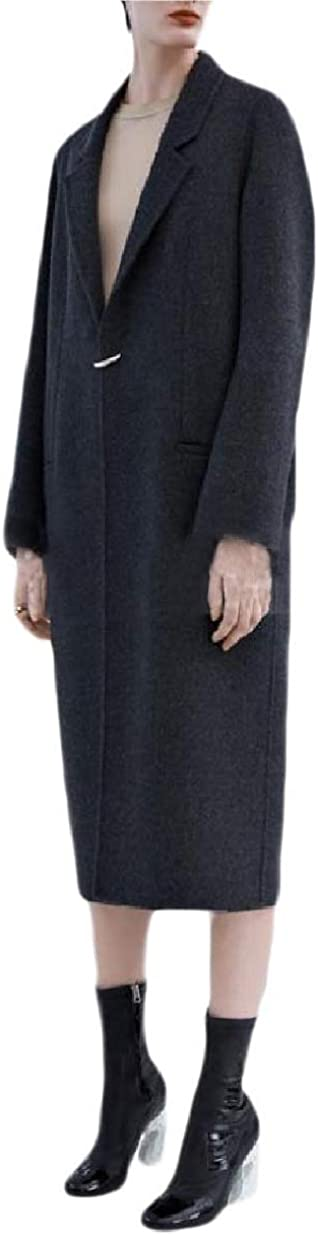 Whitive Womens Trench Fitness Wool Blended Vintage Cashmere Worsted Coat