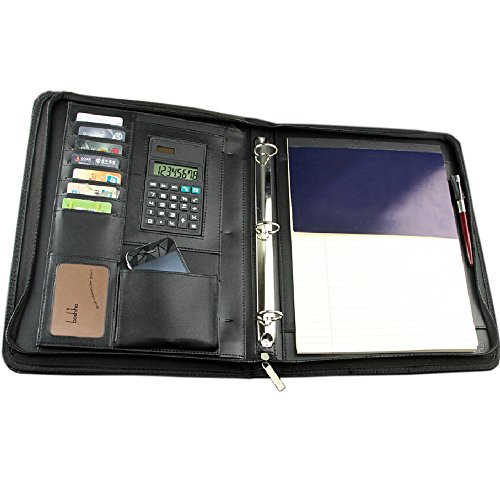 Boshiho Job Interview Executive Padfolio Organizer Documents Holder Zipper 3-Ring Binder with Calculator Notepad and Pen Holder - Junior Iii Padfolio