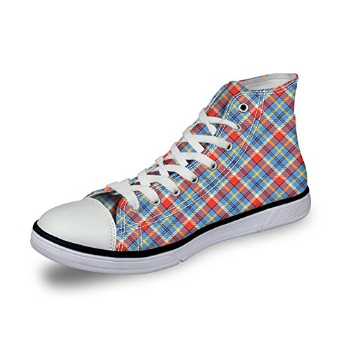 Bigcardesigns Unisex Casual Hoge Top Retro Canvas Skate Schoenen Geruite Sneakers Blauw Rood