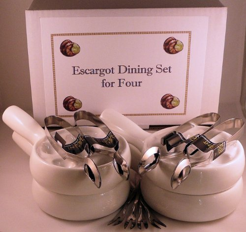 (Snail, Escargot, Dining Set for FOUR people consisting of four 6 hole vitrified porcelain snail dishes / plates with handles and four stainless steel Snail Tongs and Snail Forks. All you need in one money saving pack to enjoy your escargots!)