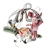 Christmas Hanging ornament,Lovewe Christmas Wreath Door Wall Ornament Pentagram Hanging Decoration With Bowknot (B)