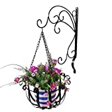 Iron Flower Basket Wall Hook Hanger for Bird Feeders, Planters, Lanterns, Wind Chimes, Wall Brackets