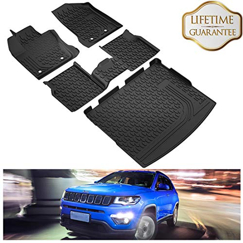 KIWI MASTER Floor Mats & Cargo Liners Set Compatible for 2017-2019 Jeep Compass Accessories Front & 2nd Row Seat Cargo All Weather Protector Slush Liner Mat Black