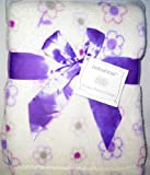 30″ x 40″ Purple Flowers White Nursery Blanket – by babyGEAR
