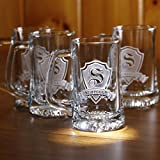 Personalized, monogrammed beer mugs SET OF 8 (M30)