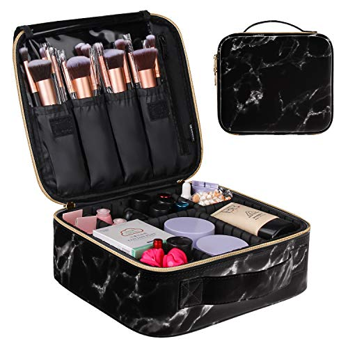 MONSTINA Travel Makeup Bag Organizer,Marble Cosmetic Case Portable Makeup Train Case Professional Makeup Artist Bag with Adjustable Compartment for Cosmetics and Nail Tools…