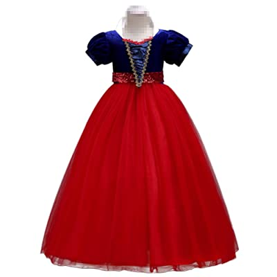 IWEMEK Kids Girls Snow White Princess Fancy Costume Dresses Up Cosplay Birthday Party Floor Length Dance Evening Gown: Clothing