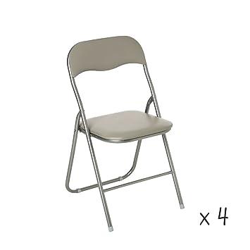 Set di 4 sedie pieghevoli, colore: tortora: Amazon.it: Casa e cucina