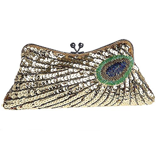 Lock Woman Kiss Beaded Clutch Clutch Handbag Lifewish Sequins Champagne Bag Purse Peacock wBqRFZy