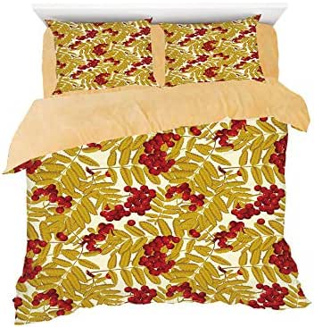 Homenon Juicy Ripe Rowan Fruits with Golden Colored Leafage Tasty Foliage in Wilderness,3D Printed in Flannel Duvet Cover Set,Decorated on a 6ft Bed,4 Piece Bedding Set,King Size,Gold Red White