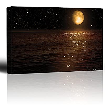 Gold Moon and Bright Stars Illuminating The Ocean at Night - Canvas Art Home Art - 12x18 inches