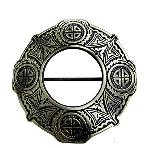 "AAR Celtic Knot Antique Finish Fly Plaid Piper Brooch for 3"" Diameter Kilt"