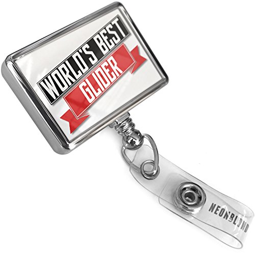 Retractable ID Badge Reel Worlds Best Glider with Bulldog Belt Clip On Holder Neonblond ()