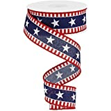 Stars & Stripes Wired Edge Ribbon - 10 Yards (Canvas, Red, White, Navy Blue)