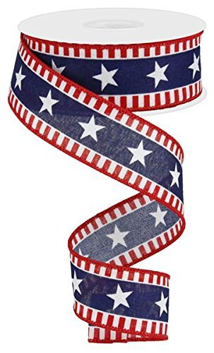 (Stars & Stripes Wired Edge Ribbon - 10 Yards (Canvas, Red, White, Navy)