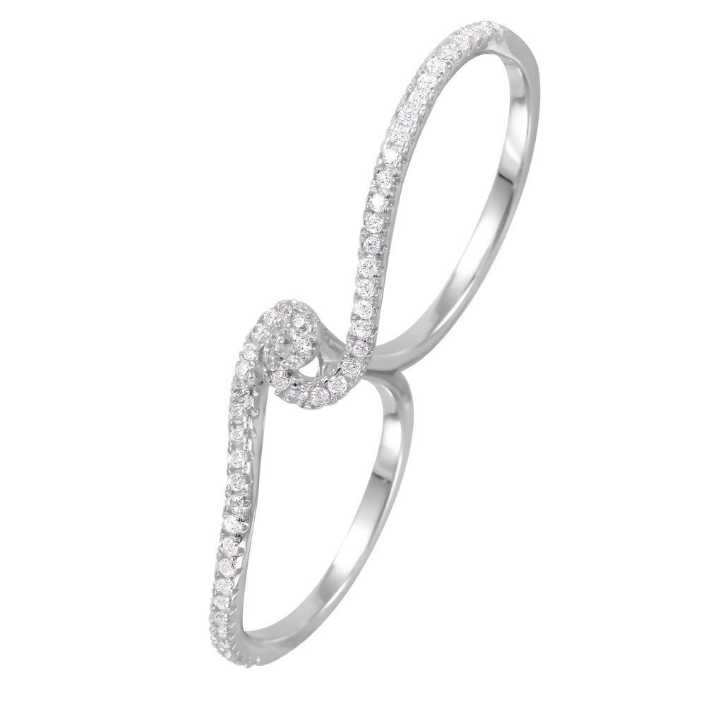 Clear Pave Set Cubic Zirconia Two-Finger Swirl Ring Rhodium Plated Sterling Silver Size 8