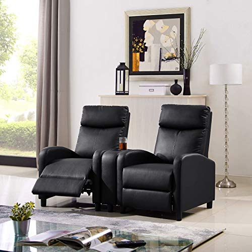 Loveseat Recliner Chair W/Built-in Cup Holders Console, Black Sectional Home Theater Seating Padded Seat