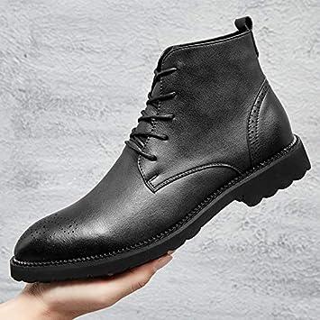 6ef9ea851b703 LOVDRAM Zapatos para Hombres Zapatos Altos Otoñales Botas Cortas para  Hombres con Botines De Cuero Aumentados Botas para Hombre De PU Martin Botas   ...