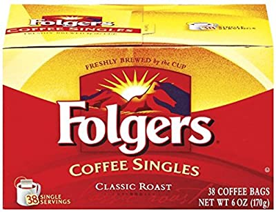 Folgers Coffee Singles Classic Roast Coffee Bags, 6 Ounce