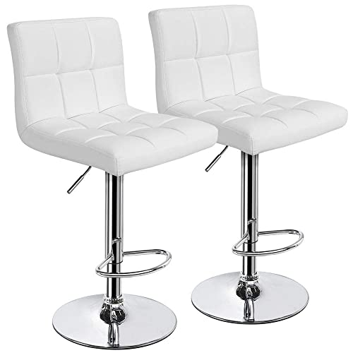 Yaheetech X-Large Bar Stools – Square PU Leather Adjustable Counter Height Swivel Stool Armless Chairs Set of 2 with Bigger Base, White
