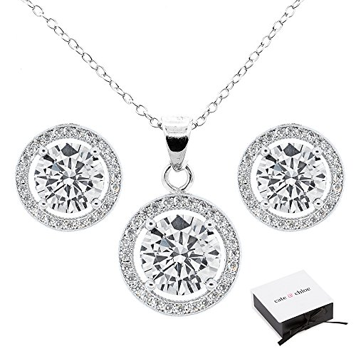 Cate & Chloe Ariel Jewelry Set, 18k White Gold Cubic Zirconia Pendant Necklace and Stud Earrings, Bridal Jewelry Set, Round Cut Necklace Earring Set for Women, Silver Halo Jewelry Set, MSRP $199 (Diamond Moonstone Earrings)