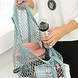 Vovotrade Reusable Fruit String Grocery Shopper Cotton Tote Mesh Woven Net Shoulder Bag (Blue)