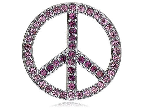 Alilang Silvery Tone Shine Purple Pink Crystal Rhinestone Hippie Peace Sign Brooch Pin