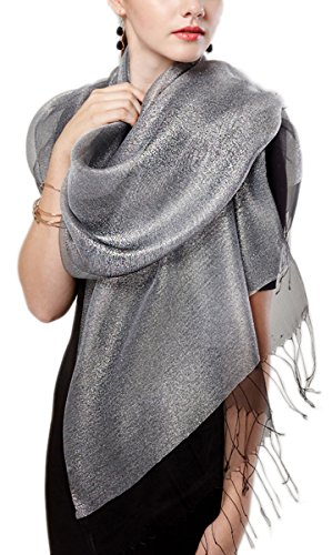 (Women's Sparkle Fringe Prom Weddings Evening Scarf Oversized Wraps Shawl Sheer (Black-Grey))