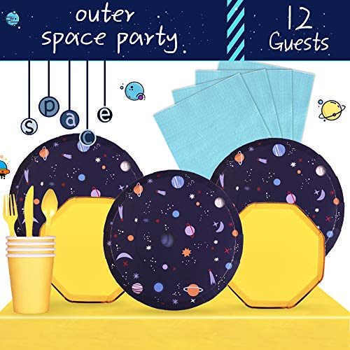 (Partybus Party Supplies Set - Serves 12, 85 Ct, Astronaut Outer Space Solar System Theme Party Disposable Tableware Kit for Boys Girls Kids Birthday Decorations, Includes Dinner Plates, Dessert Plates, Napkins, Cups, Table Cloth, Silverware)