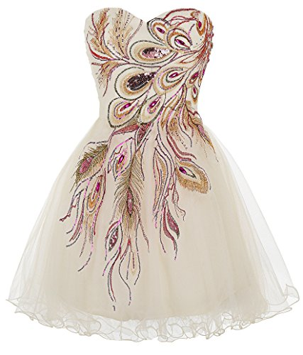 Sweetheart Soft Tulle Cocktail Dress Embroidered A-Line Formal Gown,Ivory,size 8 USA