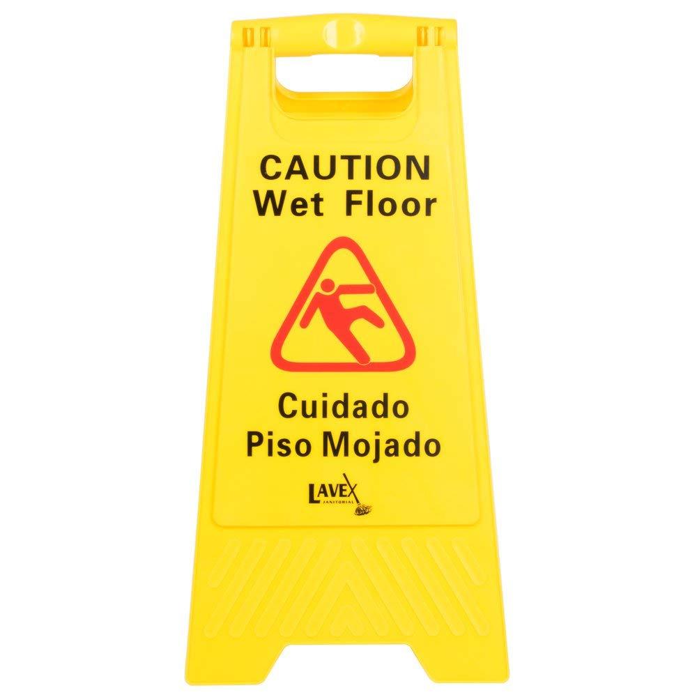 Señal de precaución de suelo mojado amarillo, 2 caras ...