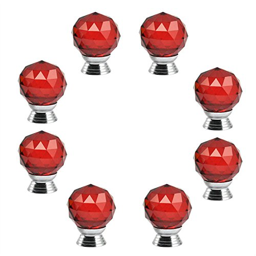 - IdealDecor 30mm 8 PCS Red Diamond Shape Crystal Glass Cabinet Knob Cupboard Drawer Pull Handle/Great for Cupboard, Kitchen and Bathroom Cabinets, Shutters,Wardrobe