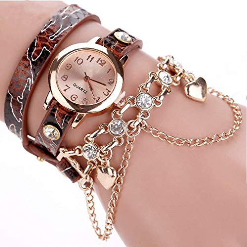 (Windoson Bracelet Watch Fashion Snake Skin Pattern Ladies Circle Watch Jewelry Long Belt Quartz Watch)