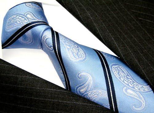 LORENZO CANA Luxury Italian 100/% Pure Silk Tie Woven Necktie Blue Navy Lightblue Stripes Paisley 25004