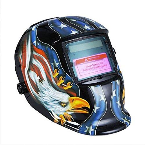 Hanbaili Casco de soldadura, (águila negra) Energía solar Auto Tig Soldadura de soldadura Mig Soldadura Soldadores Máscara de casco de arco Protector: ...
